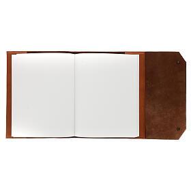 Calepin couverture cuir véritable marron étoile moins Bethléem 30x25x2 cm s3