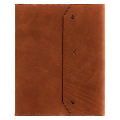 Calepin couverture cuir véritable marron étoile moins Bethléem 30x25x2 cm 1