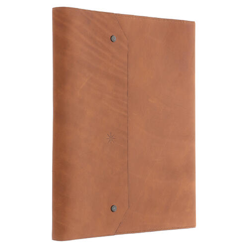Calepin couverture cuir véritable marron étoile moins Bethléem 30x25x2 cm 4