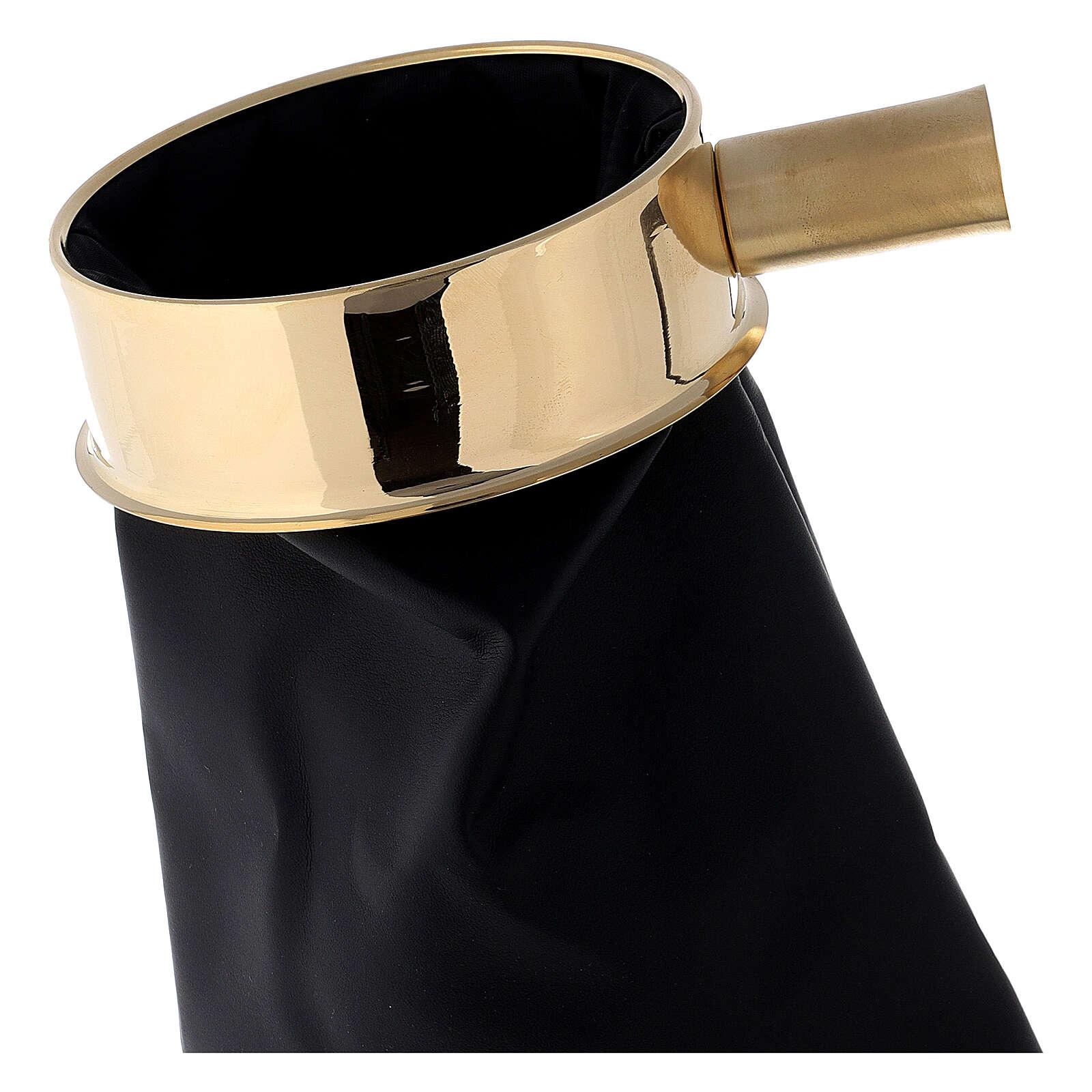 Sac cuir synthétique pour offrandes 30 cm avec support manche 3