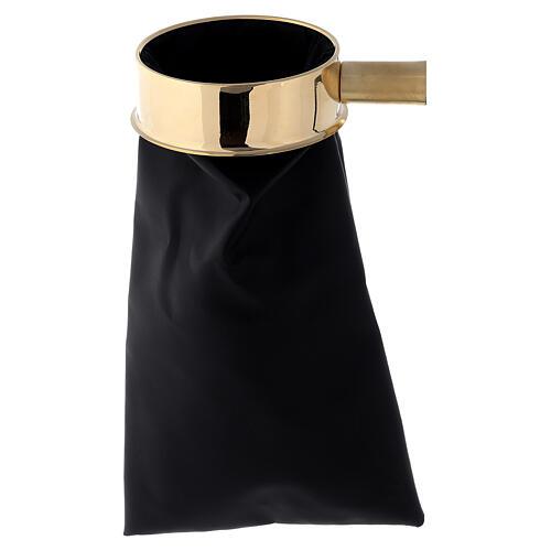 Sac cuir synthétique pour offrandes 30 cm avec support manche 1