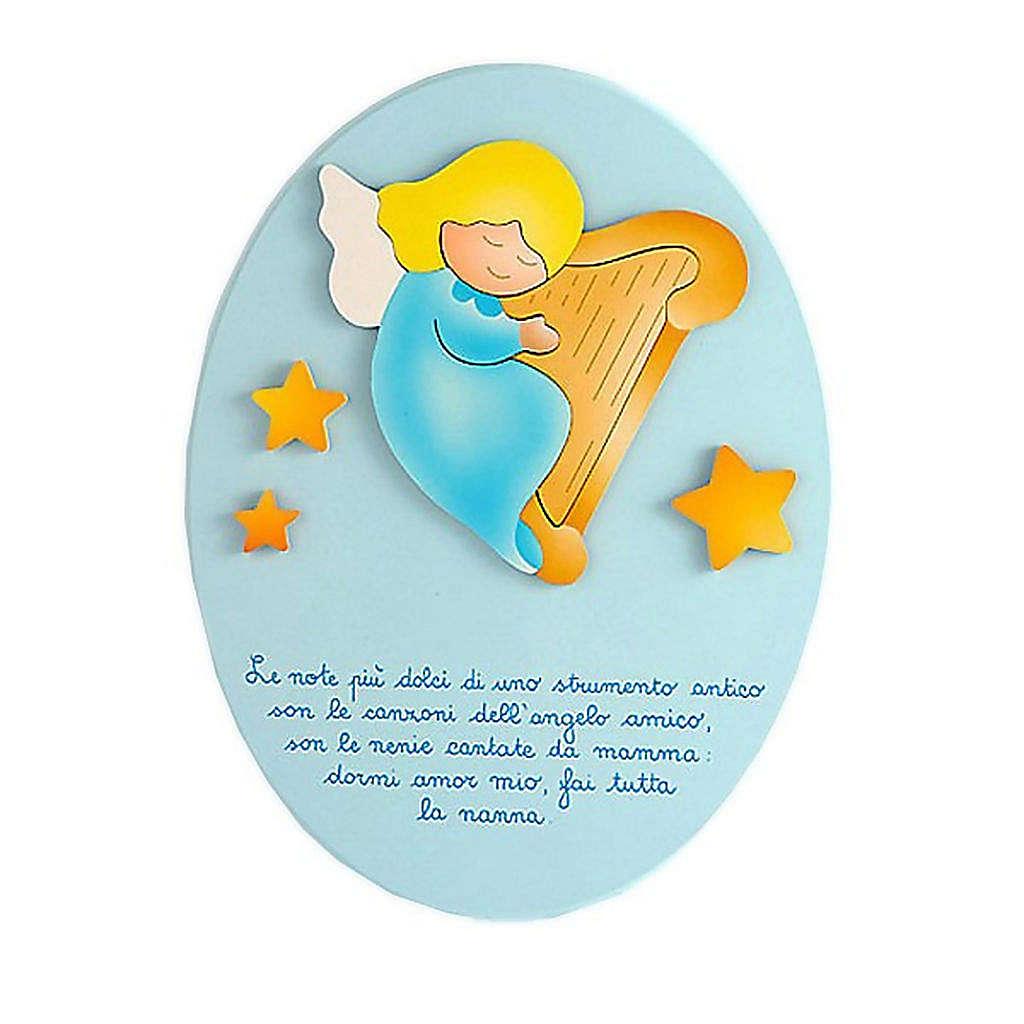 Ovale con preghiera e ninna nanna azzurro 3