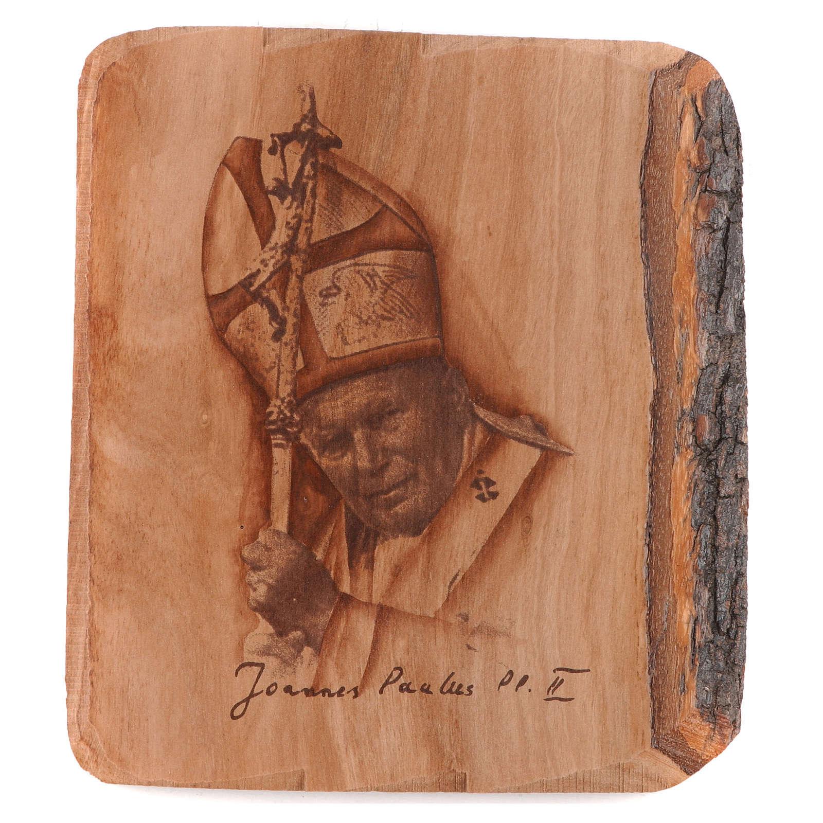 Jean Paul II sur bois d'olivier 3