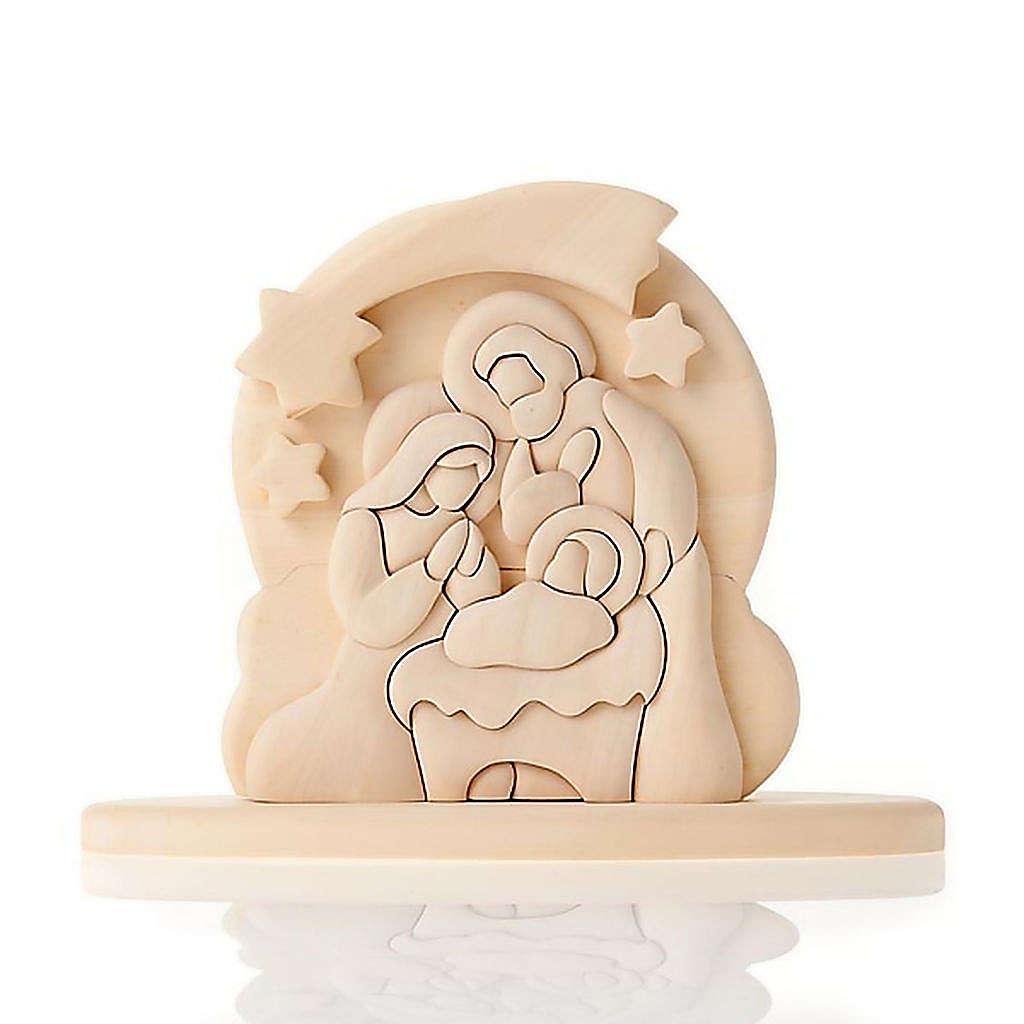 Bassorilievo legno naturale Sacra Famiglia 20x16 cm 3