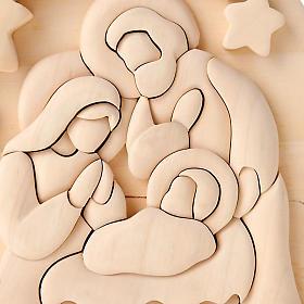 Bassorilievo legno naturale Sacra Famiglia 20x16 cm s2
