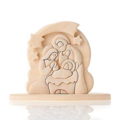 Bassorilievo legno naturale Sacra Famiglia 20x16 cm 1