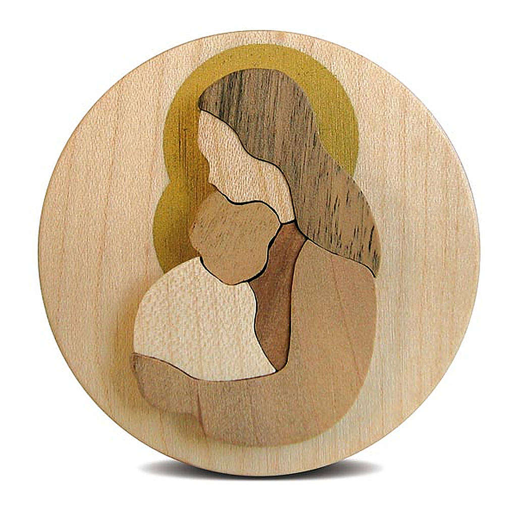Round wooden favour with Virgin Mary with Baby Jesus 3