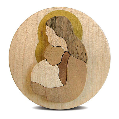 Round wooden favour with Virgin Mary with Baby Jesus 2