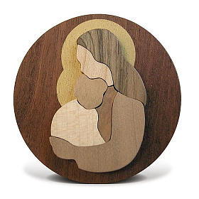 Round wooden favour with Virgin Mary with Baby Jesus s3