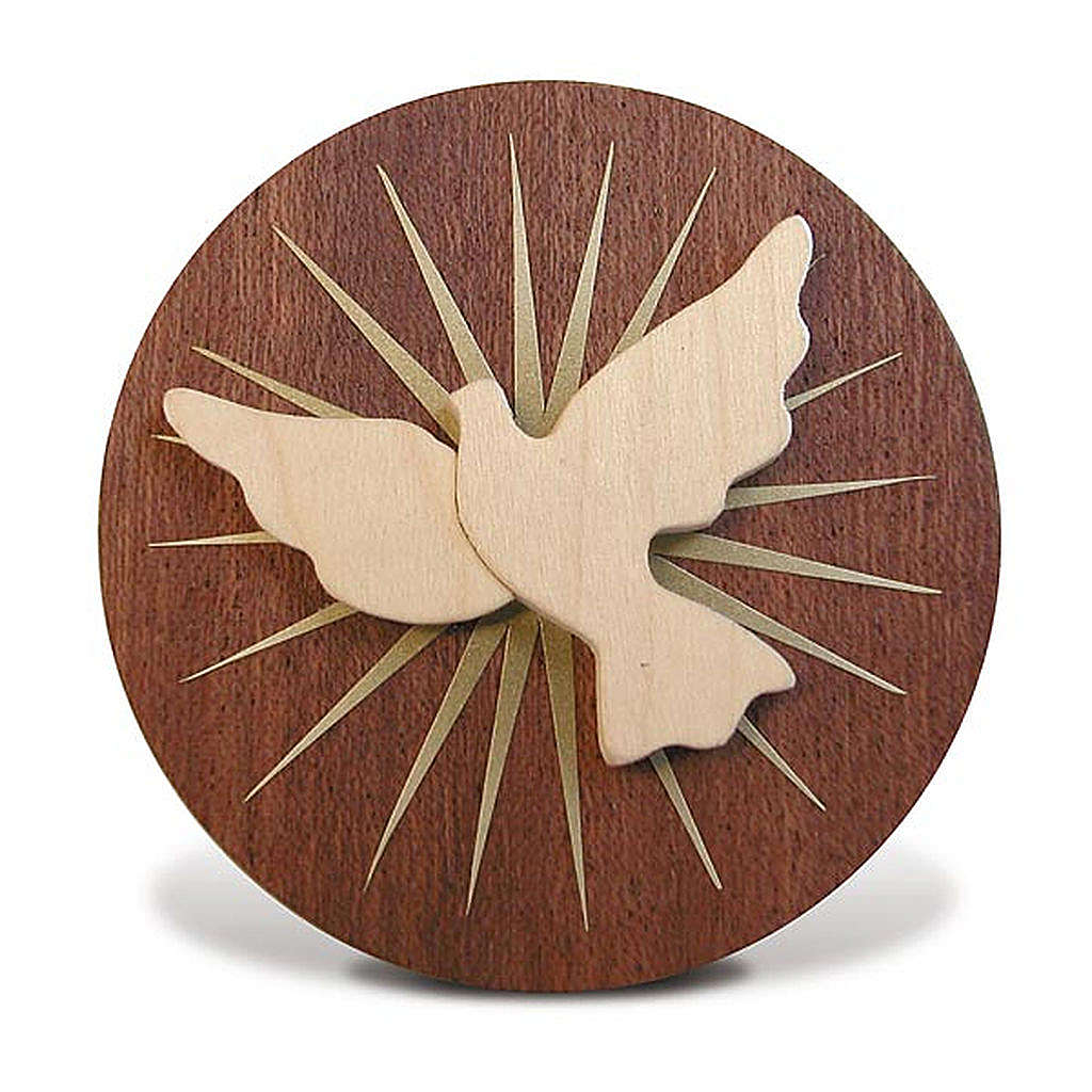 Bomboniera Azur tondo legno Spirito Santo 3