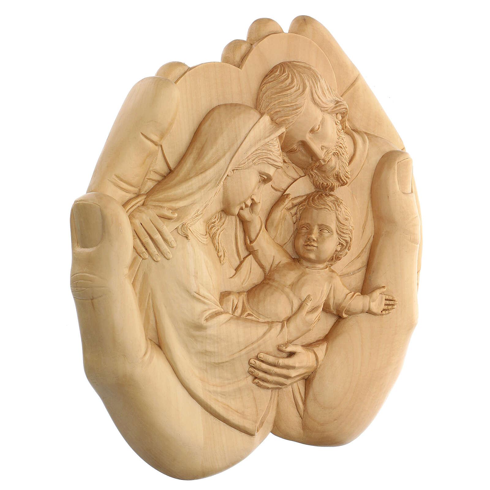 Sacra Famiglia nelle mani in Lenga 40x40x5 cm Mato Grosso 4