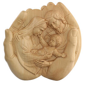 Sacra Famiglia nelle mani in Lenga 40x40x5 cm Mato Grosso s1