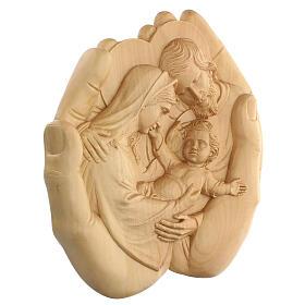 Sacra Famiglia nelle mani in Lenga 40x40x5 cm Mato Grosso s3