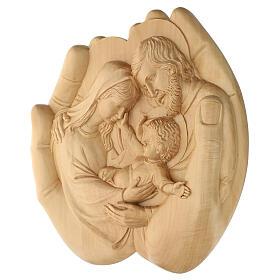 Sacra Famiglia nelle mani in Lenga 40x40x5 cm Mato Grosso s4