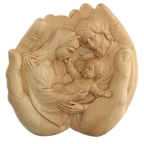 Sacra Famiglia nelle mani in Lenga 40x40x5 cm Mato Grosso 1