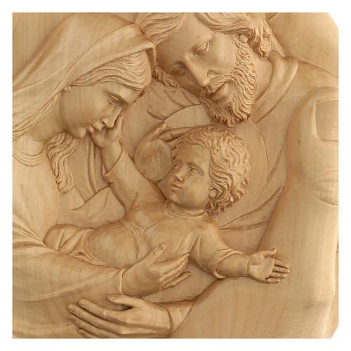 Sacra Famiglia nelle mani in Lenga 40x40x5 cm Mato Grosso 2