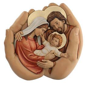 Sagrada Família nas mãos madeira de lenga e tintas de óleo 40x40x5 cm Mato Grosso s1