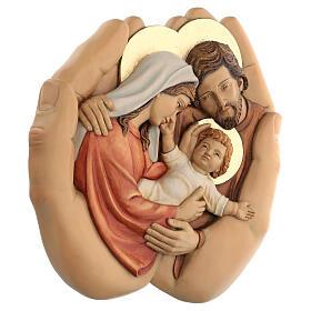 Sagrada Família nas mãos madeira de lenga e tintas de óleo 40x40x5 cm Mato Grosso s3