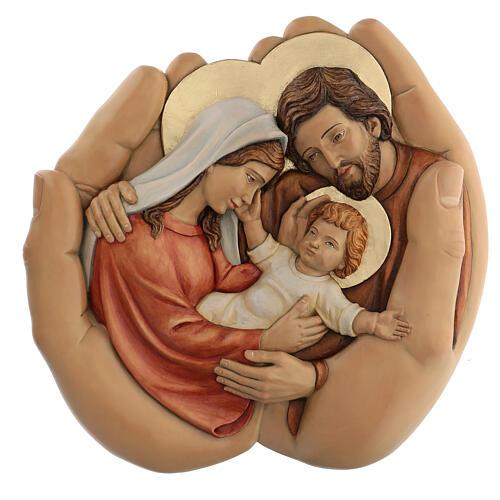 Sagrada Família nas mãos madeira de lenga e tintas de óleo 40x40x5 cm Mato Grosso 1