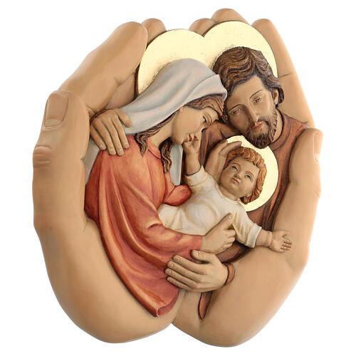 Sagrada Família nas mãos madeira de lenga e tintas de óleo 40x40x5 cm Mato Grosso 3