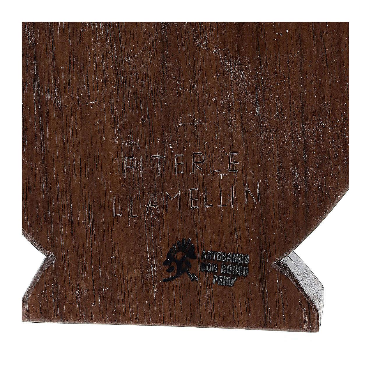 Baixo-relevo Natividade em madeira de tília e nogueira 30x20x5 cm Mato Grosso 4