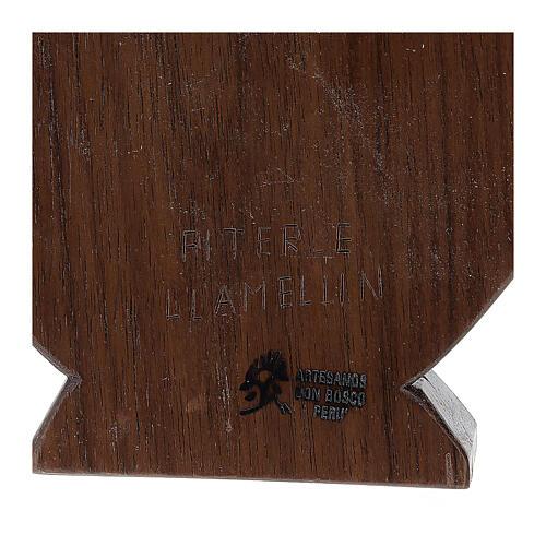 Baixo-relevo Natividade em madeira de tília e nogueira 30x20x5 cm Mato Grosso 5