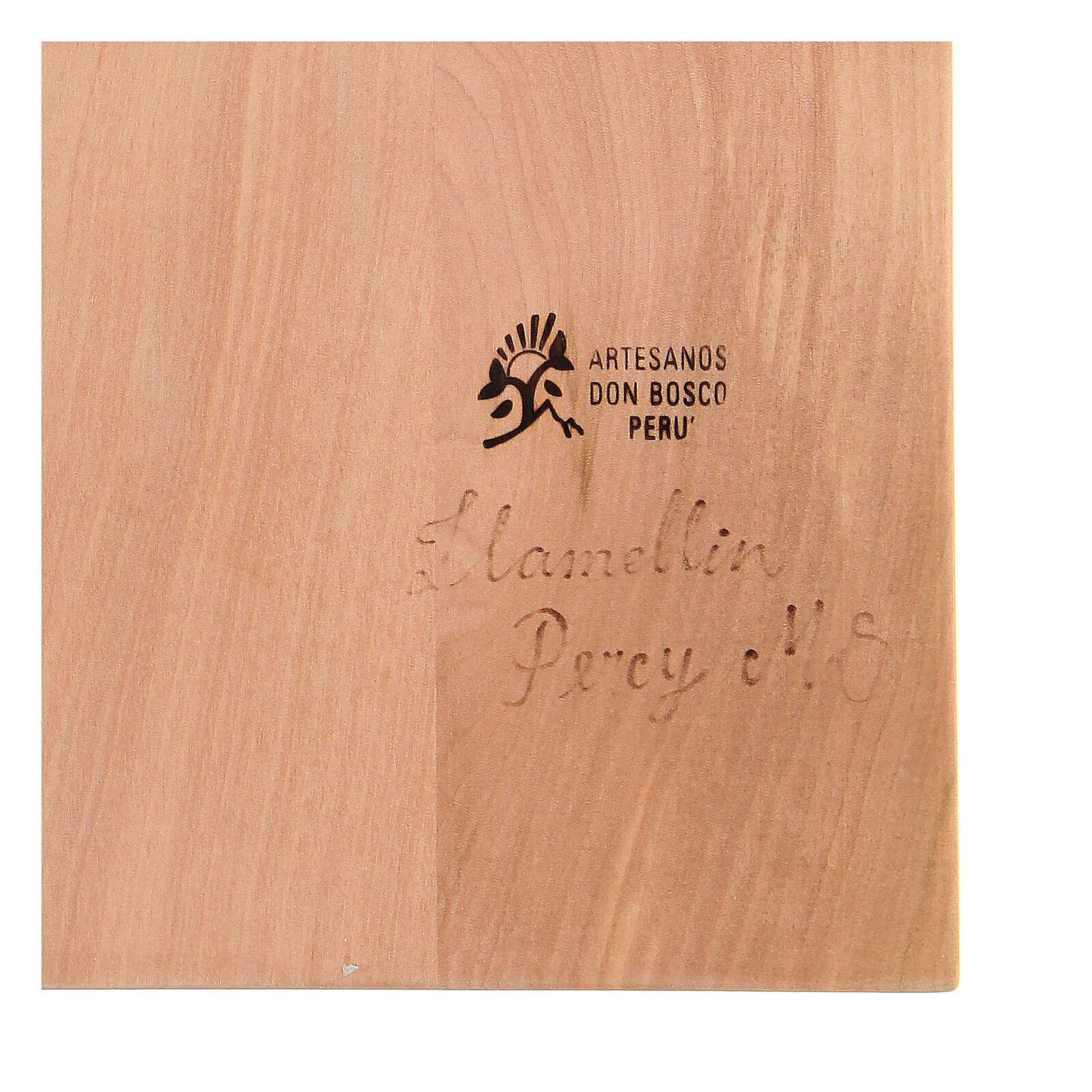 Sacra Famiglia legno lenga scolpito a mano 30x20x5 cm Mato Grosso 4