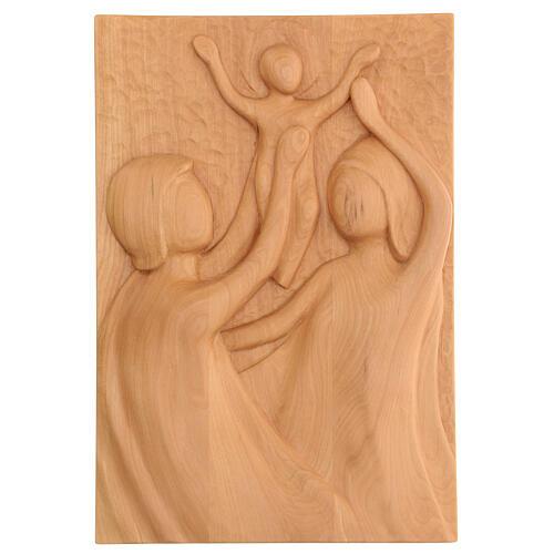 Sacra Famiglia legno lenga scolpito a mano 30x20x5 cm Mato Grosso 1