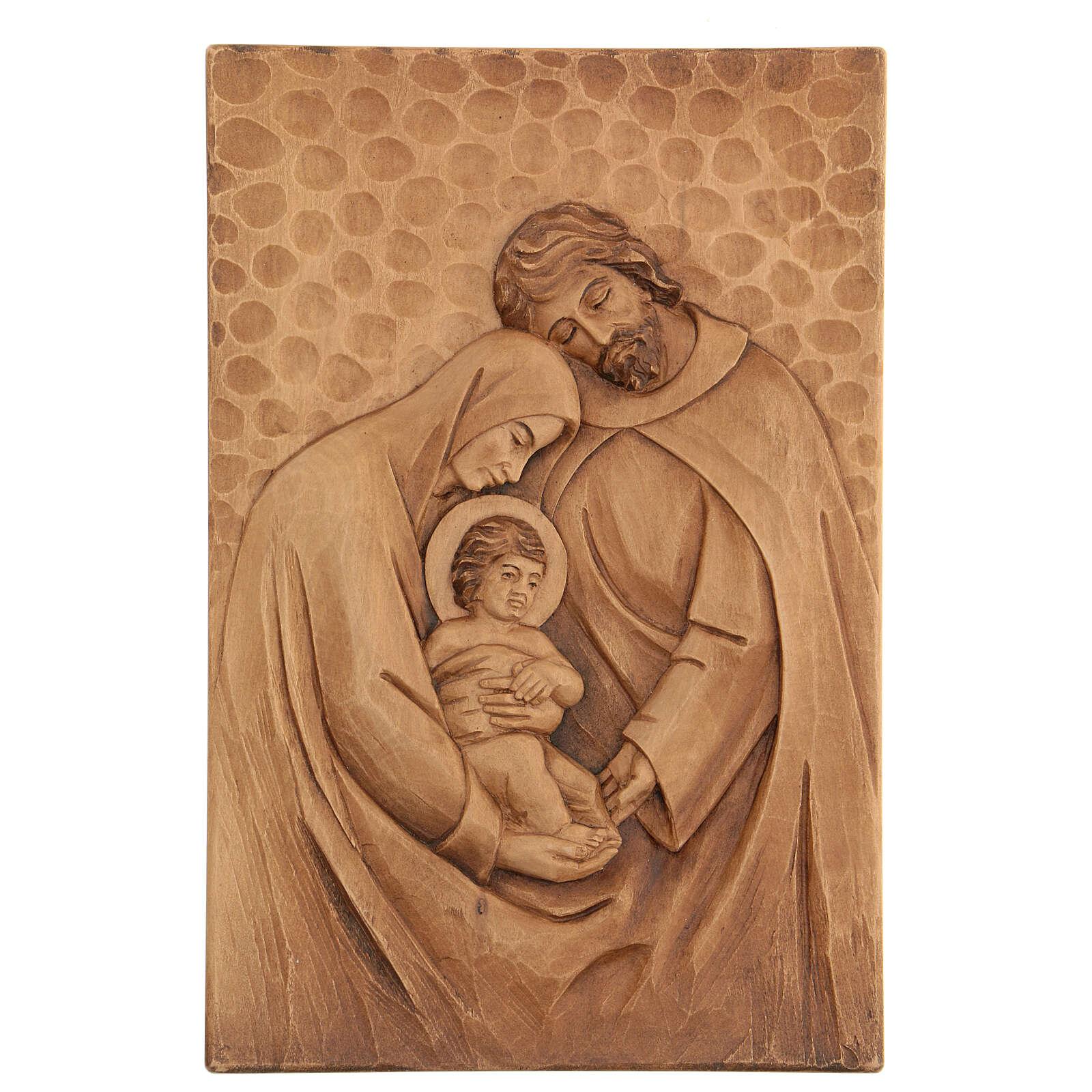 Baixo-relevo Sagrada Família madeira 30x20x5 cm Mato Grosso 4