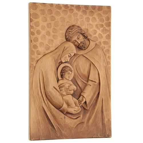 Baixo-relevo Sagrada Família madeira 30x20x5 cm Mato Grosso 3
