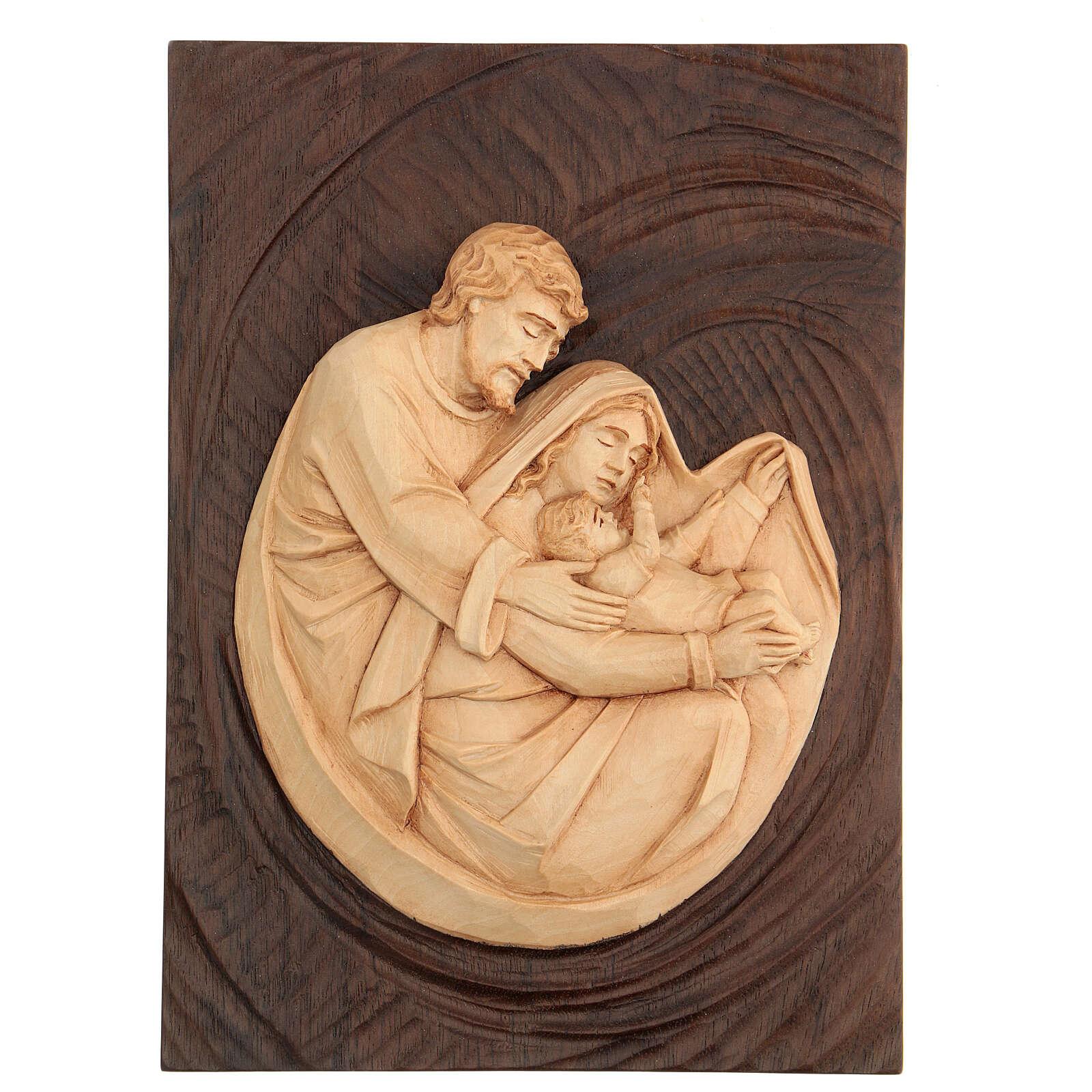 Bassorilievo Sacra Famiglia in lenga e noce 30x20x5 cm Mato Grosso 4