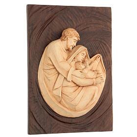 Bassorilievo Sacra Famiglia in lenga e noce 30x20x5 cm Mato Grosso s3