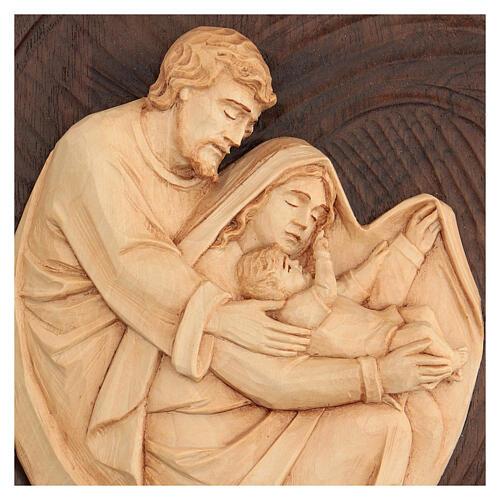 Bassorilievo Sacra Famiglia in lenga e noce 30x20x5 cm Mato Grosso 2