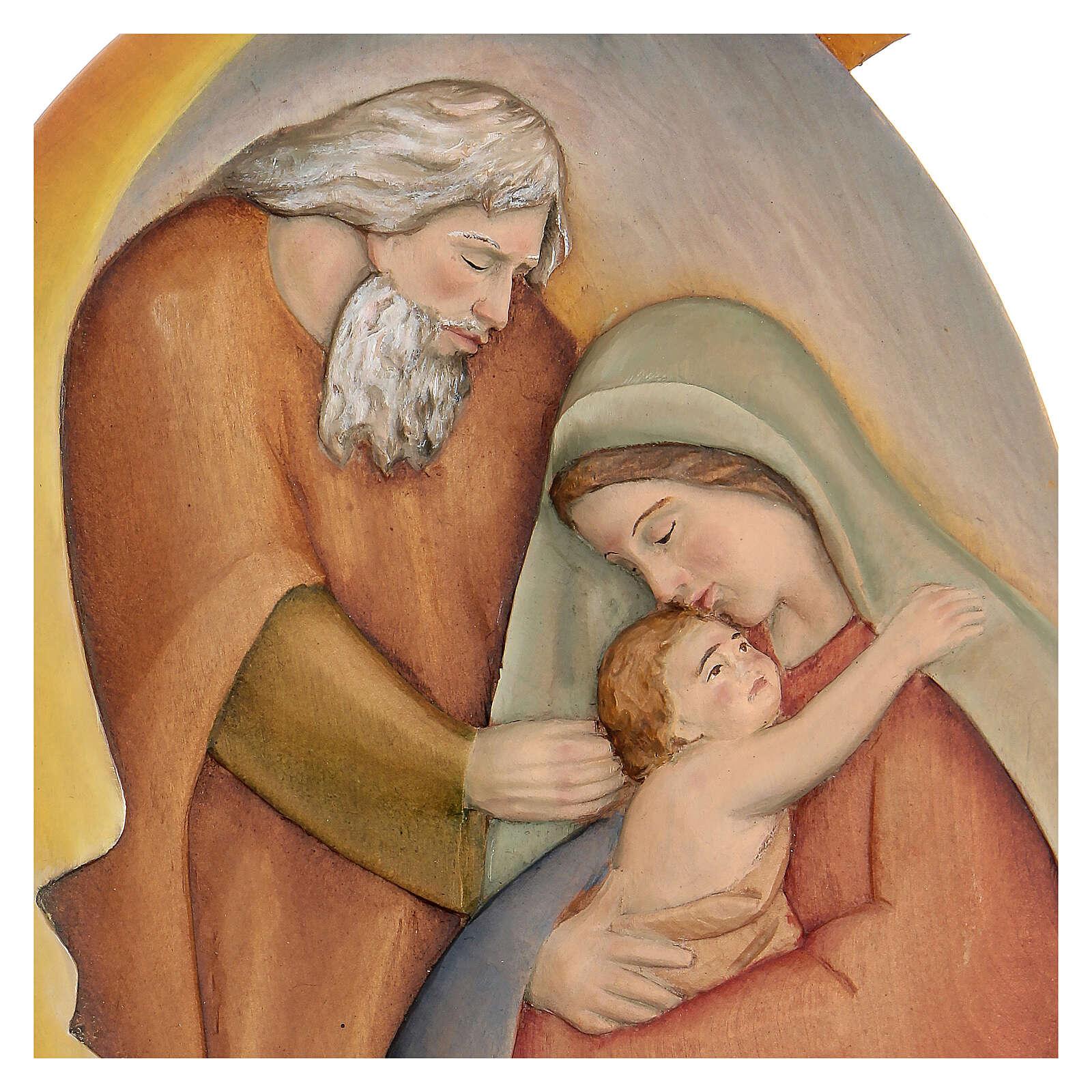 Sacra Famiglia in legno dipinto con colori a olio 30x20x5 cm Mato Grosso 4