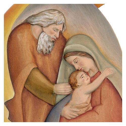 Sacra Famiglia in legno dipinto con colori a olio 30x20x5 cm Mato Grosso 2
