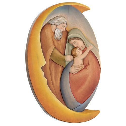 Sacra Famiglia in legno dipinto con colori a olio 30x20x5 cm Mato Grosso 3