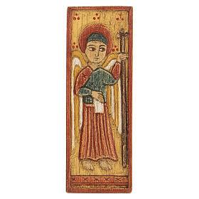 Baixo-relevo Arcanjo Gabriel fundo amarelo madeira Belém 12x5 cm