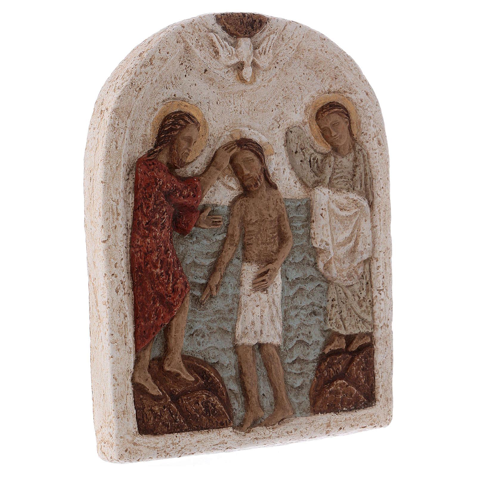 Bajorrelieve de piedra Bautismo de Cristo Bethléem 4