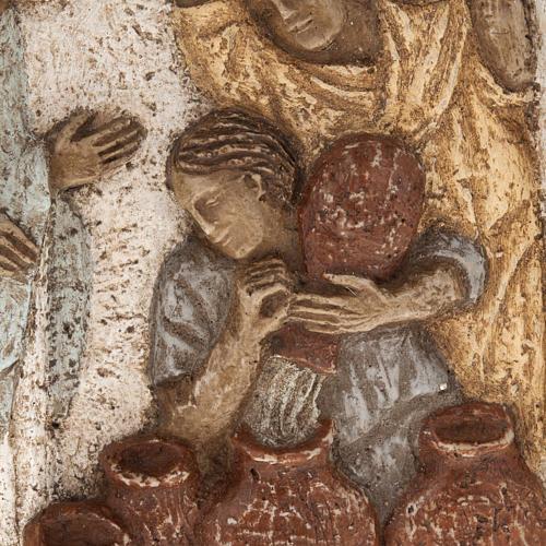 Bajorrelieve de piedra de la boda de Caná Bethléem 3