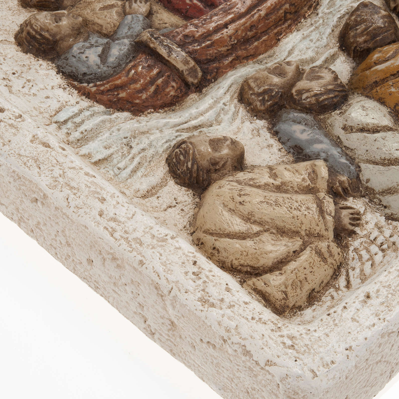 Bassorilievo pietra dei Pirenei Gesù su barca con Discepoli 4