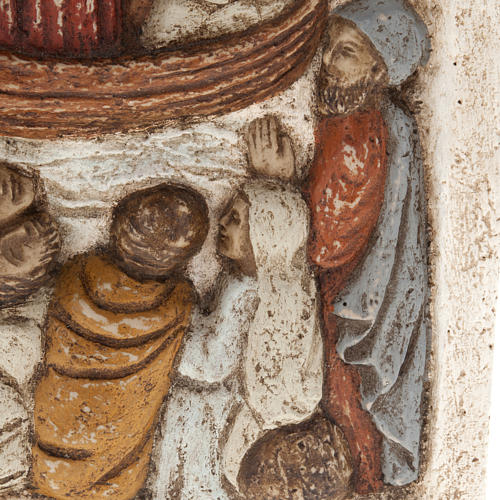 Bassorilievo pietra dei Pirenei Gesù su barca con Discepoli 3