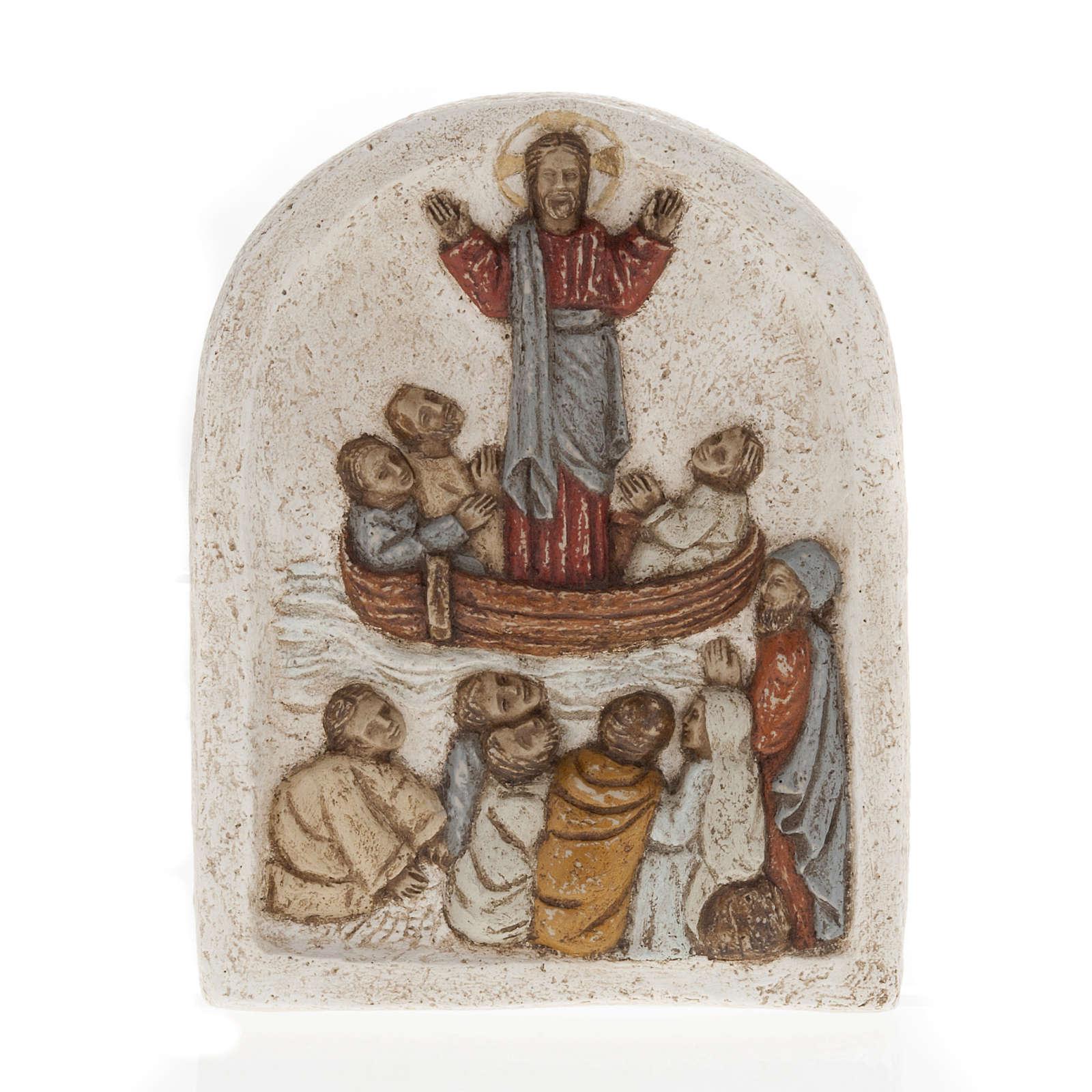 Jezus na łodzi z uczniami płaskorzeźba z kamienia pir 4