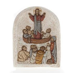 Jezus na łodzi z uczniami płaskorzeźba z kamienia pir s1