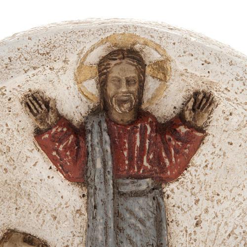 Jezus na łodzi z uczniami płaskorzeźba z kamienia pir 2