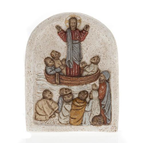 Baixo-relevo pedra dos Pirenéus Jesus no barco com discípulos 1