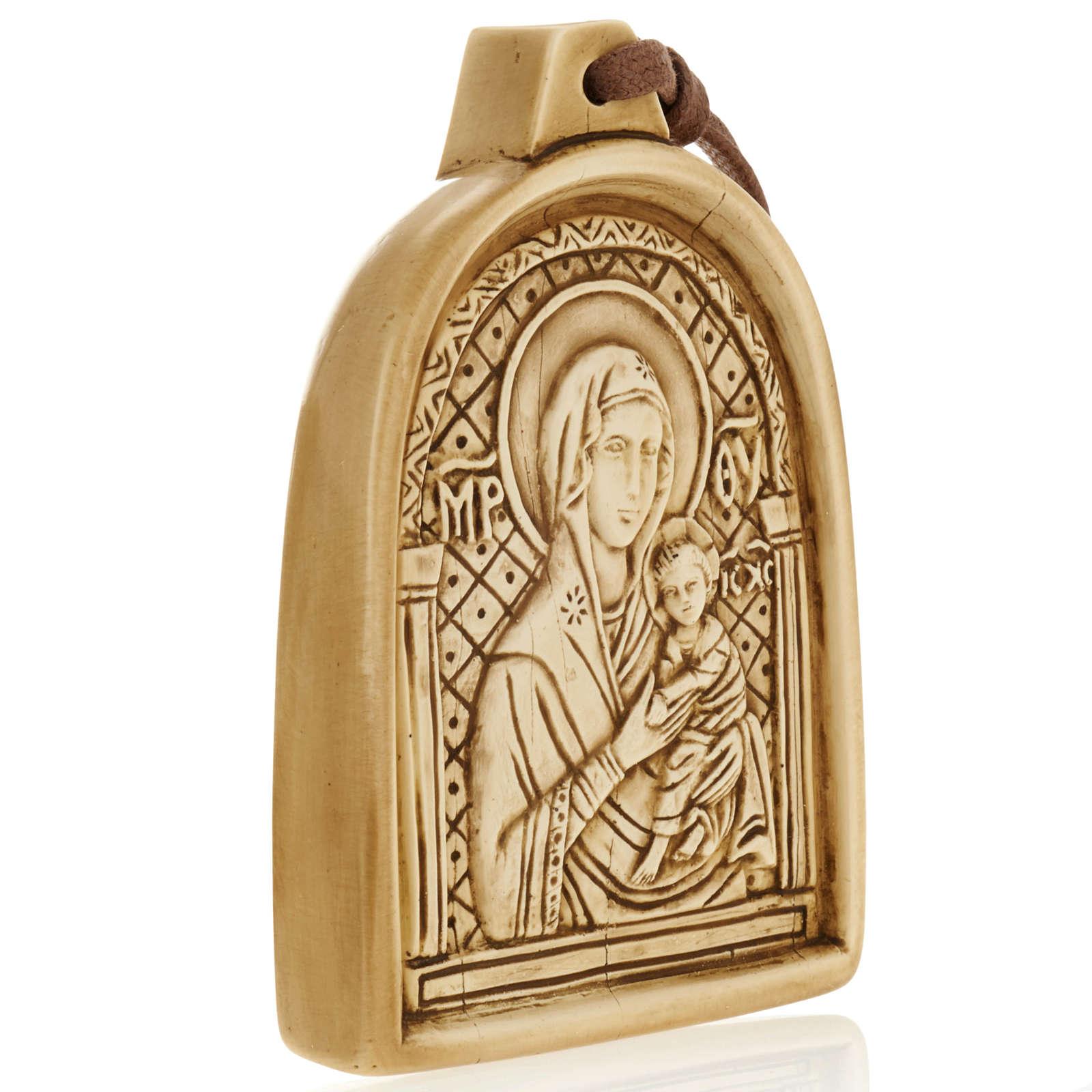 Madonna con bimbo bassorilievo pietra da appendere 4