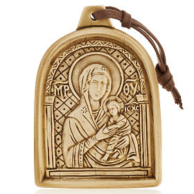 Madonna con bimbo bassorilievo pietra da appendere s1