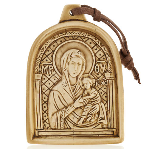 Madonna con bimbo bassorilievo pietra da appendere 1