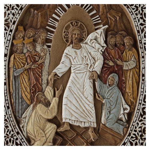 Bassorilievo coprievangeliario Resurrezione 33 cm pietra 2