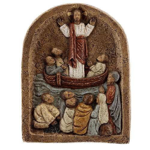 Bas-relief Jesus preaching from the boat 20x15 cm 6